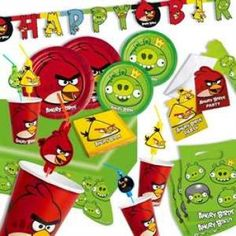 RZOnlinehandel - Angry Birds Themenset, 62-teilig bis zu 8 Kids Angry Birds, Party, Birth, Kids, Parties