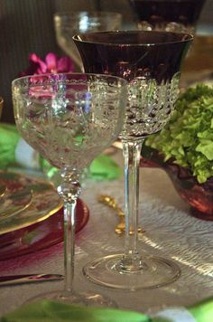 Elegant French Cut Crystal Goblet for Wine and The Waterford Simply Lilac Goblet for Water or Tea.