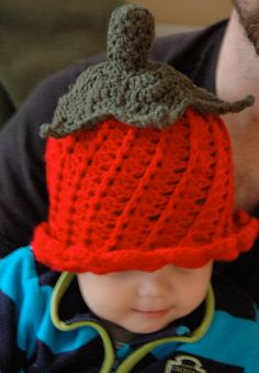 Strawberry/tulip/chili pepper crochet hat