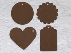 25 BROWN Heart Scalloped Circle Hang Tag Shape Cardstock Paper Gift Tags by PorcupineSpines
