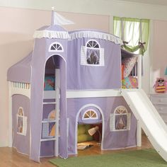 Fantasy Castle Tent Low Loft Bed in Lilac and White from PoshTots