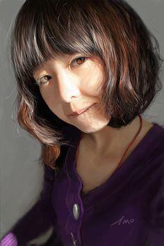 Artist: Wangmeng, 丝 铁 {contemporary figurative realism art asian female head hair young woman face portrait digital painting #loveart}