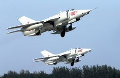 Two Chinese Q-5 Fantans take off for a training flight on September 25, 2016. (People's Republic of China)