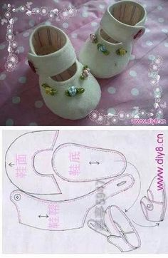 Sapatos Baby shoes from felted wool: Picture/pattern. decipherable from illustration (there are no instructions), Newborn wool felt baby shoes, perfeThis post was discovered by RoFelt baby shoes~ Could be used for dolls. Doll Shoe Patterns, Baby Shoes Pattern, Sewing Patterns, Clothing Patterns, Bib Pattern, Dress Patterns, Doll Crafts, Diy Doll, Baby Crafts