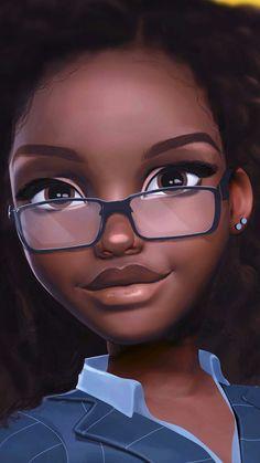Beautiful Girl with Big Cute Eyes - Artwork Black Love Art, Black Girl Art, My Black Is Beautiful, Black Girl Magic, Art Girl, Black Girls, Black Women, Eyes Artwork, Black Artwork