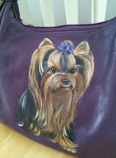 Handpainted Yorkie Purple Handbag Painting Purse Dog Art Misspaintsalot