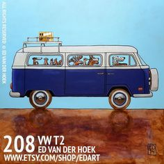 Dachshund Clube - Ed van der Hoek Dachshund, Bus Art, Canadian Travel, Vw T1, Volkswagen Bus, All Print, Unique Art, Illustration, Acrylic Paintings