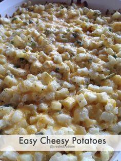 Easy Cheesy Potato Casserole ~ A family favorite. Created by Diane. Potato Dishes, Potato Recipes, Vegetable Recipes, Vegetarian Recipes, Cooking Recipes, Pizza Recipes, I Love Food, Good Food, Yummy Food