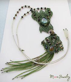 Extra long fringe necklace unique micro-macrame necklace