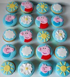 Cupcakes para fiesta de Peppa Pig.