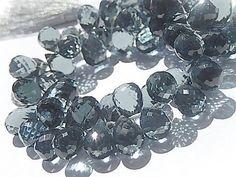 Semi Precious Gemstone Briolette. Blue-Gray Hydro by LuxBeads