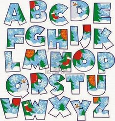 Elements of Creative Xmas Alphabet vector set 04 Alphabet Design, Fonte Alphabet, Alphabet Templates, Christmas Alphabet, Christmas Fonts, Christmas Crafts, Word Fonts, Creative Lettering, Alphabet And Numbers
