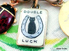 Old 14k Gold Double Luck Charm ~ Black Cat and Horseshoe