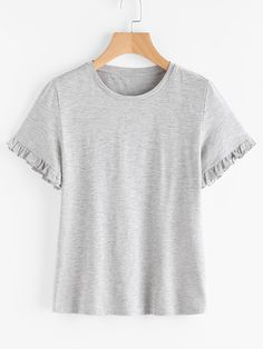 Shop Frill Cuff Heather Knit Tee online. SheIn offers Frill Cuff Heather Knit Tee & more to fit your fashionable needs.