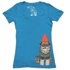 Pugs can be gnomes too. Printed and designed by Sharp Shirter on 100% cotton.