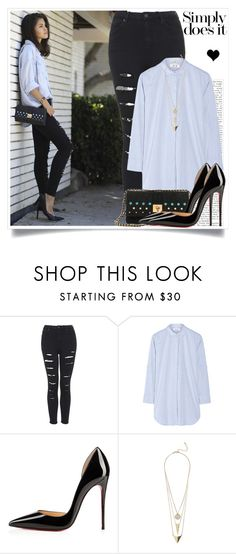 """""""Wish you were here"""" by elske88 ❤ liked on Polyvore featuring Topshop, MiH Jeans, Christian Louboutin, GUESS, women's clothing, women, female, woman, misses and juniors"""