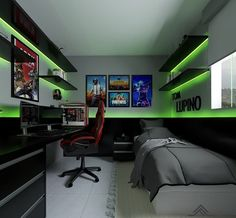 Gamer room: 45 unimaginable concepts and inspirations! Gamer room: 45 unimaginable concepts and inspirations! Computer Gaming Room, Gaming Room Setup, Gamer Setup, Gaming Rooms, Tv Rooms, Movie Rooms, Gamer Bedroom, Bedroom Setup, Boys Bedroom Decor