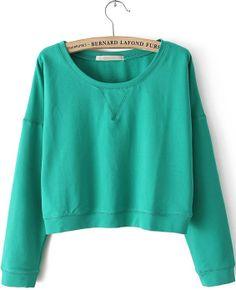 Green Round Neck Long Sleeve Crop Sweatshirt US$21.97