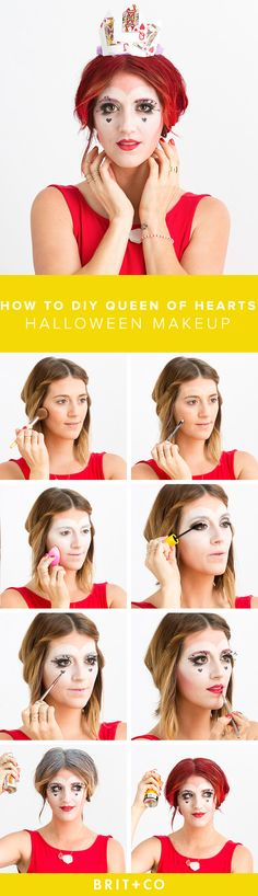 Using makeup you already own this tutorial, turn yourself into the Queen of Hearts this October halloween heart Halloween Inspo, Halloween Kostüm, Halloween Costumes, Deer Costume, Witch Costumes, Queen Of Hearts Makeup, Queen Of Hearts Costume, Costume Makeup, Party Makeup