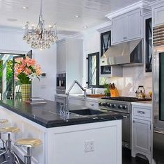 Black Marble Countertop, Contemporary, kitchen, Jeff Lewis Design