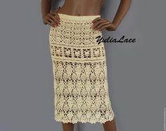 Купить Вязаная юбка бежевая - бежевый, юбка, юбка летняя, юбка вязаная, юбка ажурная