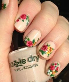 50 Unique & Trendy Nail Art Ideas That You Will Love! - Nail Designs and Ideas - Pepino Nail Art Floral Nail Art, Nail Art Diy, Diy Nails, Rose Nail Art, Fancy Nails, Cute Nails, Pretty Nails, Do It Yourself Nails, How To Do Nails