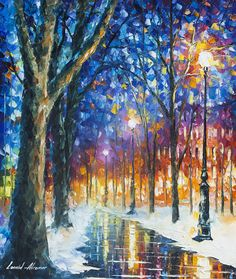 Winter Scenery Art Snow Oil Painting On Canvas By Leonid