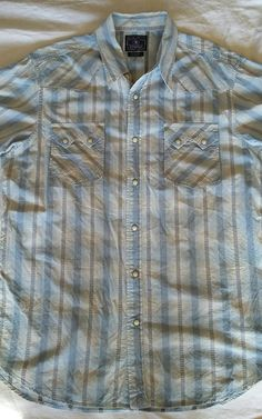 d668177758 Lucky Brand Mens Western Style SS Pearl Snap Shirt Large 100% Cotton Light  Blue