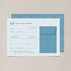 Blue Tooth Fairy Receipt  Single Note Card by NocciolaDesign, $2.50