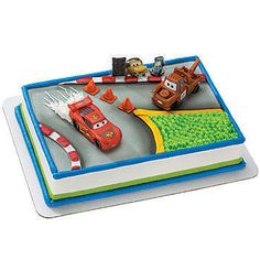 Top your Disney Cars Birthday Cake with this Cars McQueen and Mater Cake Deco Set. This cake decorating set includes both Lightning McQueen and Mater.