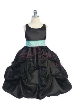 Black Taffeta Pick Up Flower Girl Dress with Sash CD-599-BK $54.95 on www.GirlsDressLine.Com