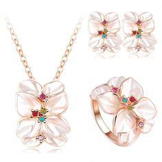2016 Best Seller Jewelry Set Rose Gold Plate Austrian Crystal Enamel Earring/Necklace/Ring Flower Set Choose Size of Ring ST0002