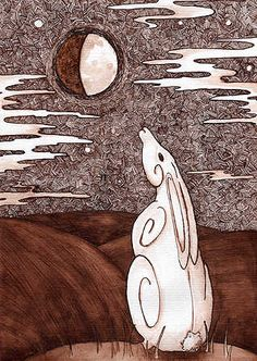 Moon Gazing Hare - Quill & Ink by Whitewolf © 2005