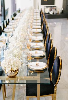 wedding table decorations 419045940325711597 - 30 Modern Wedding Decor Ideas ❤️ modern wedding decor ideas reception glass table with white flowers in gold vases and black velvet chairs lindseyboice Source by weddingforward Gala Dinner, Dinner Party Table, Wedding Reception Decorations, Wedding Centerpieces, Wedding Receptions, Wedding Ideas, Centerpiece Flowers, Wedding Hacks, Wedding Tables