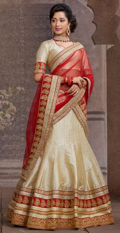 USD 77.73 Beige Silk Wedding Lehenga Choli 43672