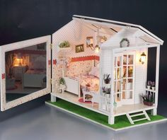 Diy led licht houten poppenhuis miniaturen strandhuis zeezicht bay-professioneel-efficiënt-concurrerend chalet kit