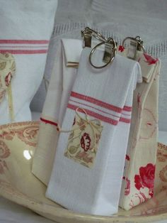with vintage linens / curtain clip closure