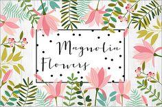 期間限定無料、手描きのかわいい花や葉っぱを組み合わせて楽しむベクター素材 -Magnolia Flowers | コリス