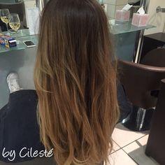 Balayage ombre curls blonde brown brunette blondette straight