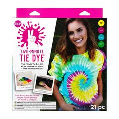 Two Minute tie dye kit. Fast and easy way to tie dye. Dyes up to 9 projects. Includes 4 dyes, 2 containers, 10 rubber bands, 2 pairs of protective gloves, and a project guide. Diy Tie Dye Kit, How To Tie Dye, How To Dye Fabric, Tulip Tie Dye, Tulip Colors, Vibrant Colors, Diy Tie Dye Shirts, Diy Shirt, Tie Dye