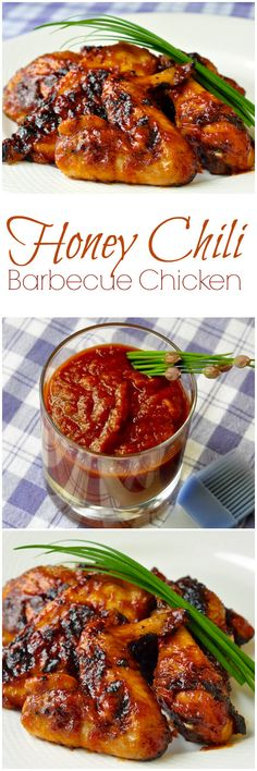 Honey Chili Barbecue Chicken - an easy homemade chili barbecue sauce gets combined with honey, then brushed on in multiple layers to create a deliciously sticky sweet glaze on barbecue chicken.