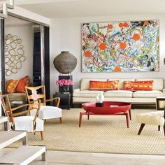 home furniture Inspiring Living Rooms of Architects and Designers : Architectural Digest Family Room Design, Colorful Living Room Design, Living Design, Luxury Living Room, Contemporary Interior, Colourful Living Room, Contemporary Living Room, Contemporary Living Room Design, Room Design