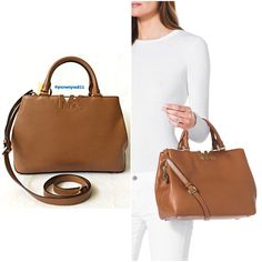 """🎉HOSTPICK🎉Authentic Michael Kors Leather Handbag 💯% AUTHENTIC ✨ Beautiful leather handbag from Michael Kors 🌹 Very versatile. Crossbody, top handle & shoulder bag. Lightweight & very spacious. Approximate measurements: Length 12"""" Height 8 1/4"""" Width 4 1/2"""" w/ adjustable & detachable long strap. Color: Luggage with yellow gold tone hardware & interior pockets. Gorgeous 💖 NO TRADE 🙅🏼 Michael Kors Bags Satchels"""