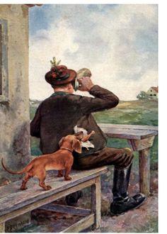 Dachshund Dog SteaLs Fried Chicken Card s Bavarian Alps Scene Old Man in Lederhosen Beer Tankard Stein