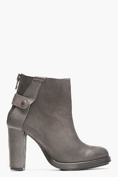 SURFACE TO AIR Dark Grey Matte Leather Atik V1 Buckled Boots