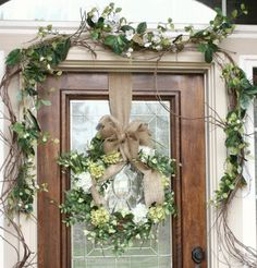 From My Front Porch To Yours: Simple Spring Front Porch// I really like this deco. Might do for our house. Front Door Decor, Wreaths For Front Door, Door Wreaths, Front Doors, Burlap Wreaths, Bow Wreath, Wreath Hanger, Grapevine Garland, Decoration Entree