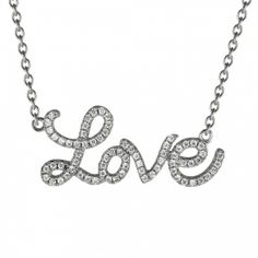 Sterling Silver LOVE Necklace made with Swarovski Zirconia. This lovely necklace features perfectly cut swarovski zirconia, set in .925 sterling silver. From our Carole Radziwill collection the necklace features an adjustable chain so it can be worn as 16 1/2 or 17 1/2 inches. Made with  Swarovski Zirconia Necklace length adjusts from 16 1/2 to 17 1/2 inches The LOVE is just over 1 inch wide and 1/2 inch high.
