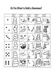 Students will use dice to build a snowman. My students love dice drawing games. It is a great activity for a sub day, one day lesson, or even as a station for early finishers. How to Play the dice. Look at the chart to see what monster Winter Fun, Winter Theme, Snowman Games, Classe D'art, Art Classroom, Physics Classroom, Classroom Displays, Maths, Art Worksheets