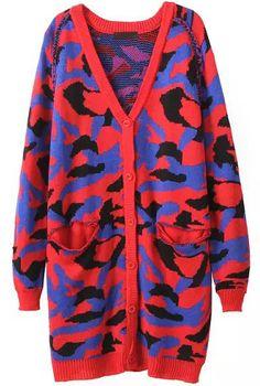 Jersey punto camuflado cuello pico manga larga-rojo 25.50