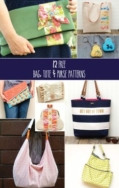 12 Free Bag Tote and Purse Patterns - these are so cute!